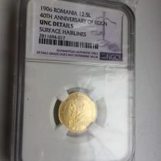 ROMANIA 12.5 LEI AUR NGC UNC DETAILS - Moneda Romania, An: 1906