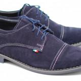 Pantofi eleganti din piele naturala bleumarin - EZELVELURSALBASTRU - Pantof barbat, Marime: 39, 40, 41, 42, 43, 44