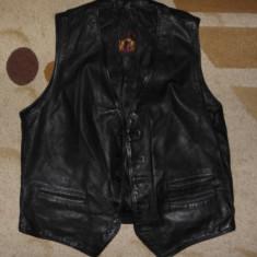 Vesta de piele moto/motor/biker, marimea 54 (XL/XX), negru mat, Karlsburg - Imbracaminte moto
