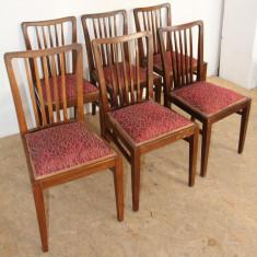 Set 6 Scaune Vintage din lemn masiv; Scaun solid cu spatar, 1900 - 1949