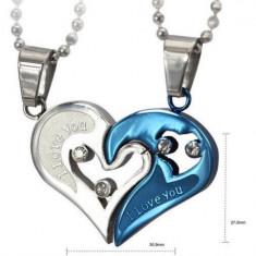 Pandantiv / Colier / Lantisor - I LOVE YOU - Pentru Cuplu - Argintiu + Albastru - Pandantiv fashion