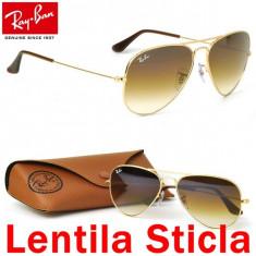 Ochelari Soare RAY BAN Aviator LENTILA STICLA +TOC CADOU - Ochelari de soare Ray Ban, Unisex, Maro, Pilot, Metal, Protectie UV 100%