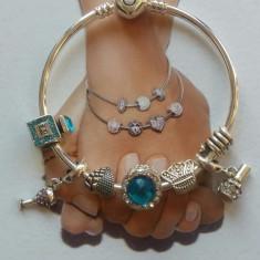 Bratara PANDORA fixa plct argint 7 charm cadou CHIC TURCOAZ FASHION - Bratara argint pandora, Femei