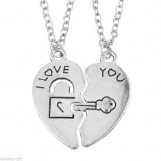 Pandantiv / Colier / Lantisor -SET  Cuplu - I LOVE YOU - Inima + Cheie