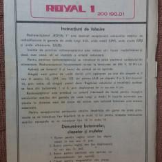 INSTRUCTIUNI DE FOLOSIRE RADIO ROYAL 1 TEHNOTON - Pliant Meniu Reclama tiparita