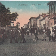 OLTENITA, STRADA CAROL, ANIMATA, CIRC.1929, EDITURA LIBRARIEI G. GEORGESCU - Carte Postala Muntenia dupa 1918, Circulata, Printata