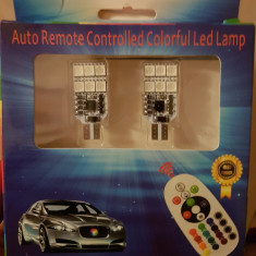 2x bec auto RGB 12 LED telecomanda 16 culori T10 3W stroboscop + Cadou! - Neoane tuning