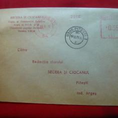 Plic circ. francatura mecanica rosie, Antet Ziar Secera si Ciocanul -C.J.Arges