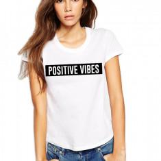 Tricou dama alb - Positive Vibes, Marime: S, M, L, XL