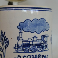 Halba de bere ceramica cu capac din zinc, veche cu tematica feroviara