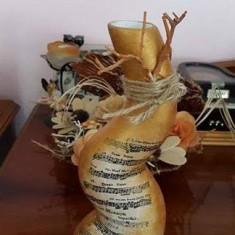 Vaza decorata cu bronz si note muzicale - Vaza si suport flori