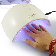 Lampa UV LED Hybrid 36W DOUBLE Light LED Alb cu Roz - Uscare Rapida - Lampa uv unghii