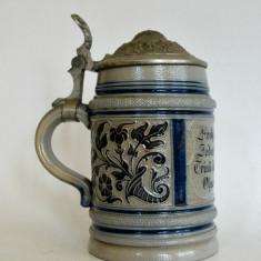 Halba de bere ceramica cu capac din zinc, veche, perioada interbelica