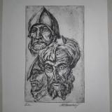 "GRAVURA MARCEL CHIRNOAGA ""CIDUL"" - Pictor roman, Abstract, Cerneala"