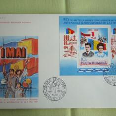 FDC ROMANIA 50 % - 1 Mai 1939-50 Ani Colita - nr. lista 1219, Romania de la 1950, An: 1989