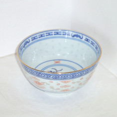 Bol (won) portelan chinezesc decorat manual - Rice Grain - marcat Jingdezhen - Arta din Asia