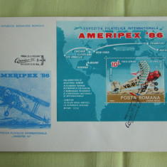 FDC ROMANIA 50 % - AMERIPEX 86 Colita - nr. lista 1159, Romania de la 1950, An: 1986