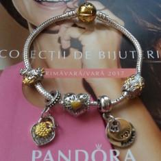 Bratara PANDORA 2 TONURI placata argint aur + 1 charm pandantiv cadou - Bratara argint pandora, Femei