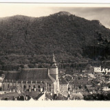 Carte Postala Brasov - Vedere Generala cu Biserica Neagra, Circulata, Fotografie