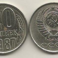 RUSIA URSS 20 COPEICI KOPEEK 1987 [1] livrare in cartonas, Europa, Cupru-Nichel