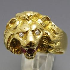 Inel vintage aur 18k cap leu cu diamante si rubin cu certificat - Inel barbati