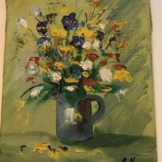 Tablou in ulei pe panza Nicos Rofatis, mic 1 - Pictor strain, Flori, Altul