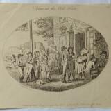 """View at the Old Hats"" gravura veche 1796 - Pictor strain, Scene gen, Cerneala, Realism"