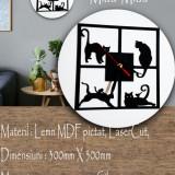 Kitty- Ceas de lemn de perete  #home #lovely #miaumiau #meow