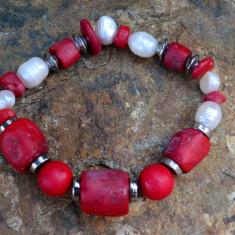 BRATARA DIN CORAL NATURAL MARE SI PERLA DE CULTURA - Bratara perle