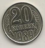 RUSIA  URSS  20  COPEICI  KOPEEK  1989  [1]  livrare in cartonas, Europa, Cupru-Nichel