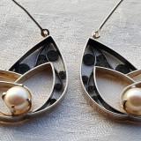 Luxury Cercei argint cu PERLE eleganti IMPECABILI Impunatori SUPERBI de EFECT