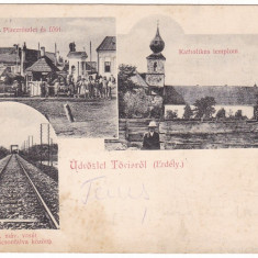 #2040- Romania, Tovis, Teius, c.p. circ. 1903: Piata, calea ferata, biserica