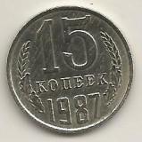 RUSIA  URSS  15  COPEICI  KOPEEK  1987  [1]  XF  ,   livrare in cartonas, Europa, Cupru-Nichel