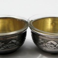 2 sosiere cu lingurite de argint masiv si cupele de sticla Franta sec 19