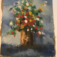 Tablou in ulei pe panza Nicos Rofatis, mic 2 - Pictor strain, Flori, Altul