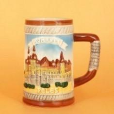 Halba ceramica cu tematica turistica - Peles. Se vinde la set de 6 bucati