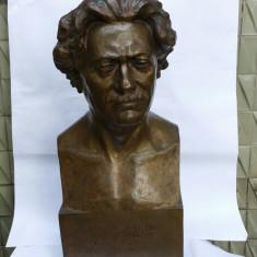 SPIRIDON GEORGESCU - bust monument al sculptorului -IOAN SARGHIE - bronz - 1939 - Sculptura