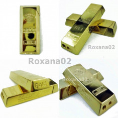 BRICHETA Metalica LINGOU Aur GOLD 999.9. Reancarcabila Gaz Butan. - Tutungerie