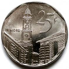 CUBA, 25 CENTAVOS 2000, The city of Trinidad (Trinity), DIAMETRU 23mm., America Centrala si de Sud, Crom