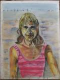 Nathalie - semnat  B.van Loocke 1996, Portrete, Pastel, Altul