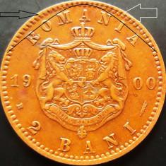 Moneda 2 Bani - ROMANIA, anul 1900 *cod 2744 EROARE BATERE: PERLE+LITERE