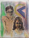 Pe plaja ? - semnat  B.van Loocke 1996, Portrete, Pastel, Altul