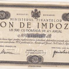 Bnk sc Bon de impozit - Ministerul Finantelor 1932 - 500 lei - Cambie si Cec