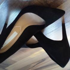 Pantofi catifea Bershka-37(noi) - Pantof dama, Culoare: Negru
