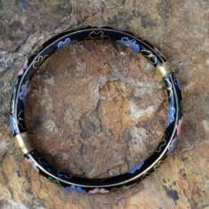 VECHE BRATARA, CLOISONNE - Colier argint