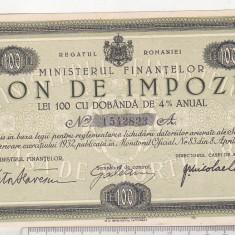 Bnk sc Bon de impozit - Ministerul Finantelor 1932 - 100 lei - Cambie si Cec