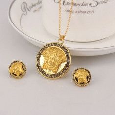Set aur 18k - African/Africa/ Femeie africana - Placat/Cercei-Medalion/Sigilat - Set bijuterii placate cu aur