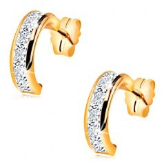 Cercei cu suruburi realizati din aur galben de 14k - semicercuri din zirconii clare si lucioase - Cercei aur