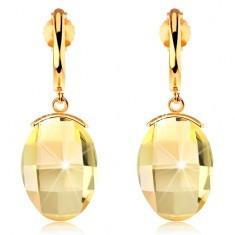 Cercei realizati din aur de 14K - arc lucios si ingust, cristal Swarovski galben si slefuit - Cercei aur
