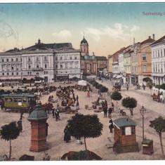 #2044-- Romania, Arad, c.p. circulata 1914: Pta. Szabadsag-ter, tram, animat - Carte Postala Crisana 1904-1918, Fotografie